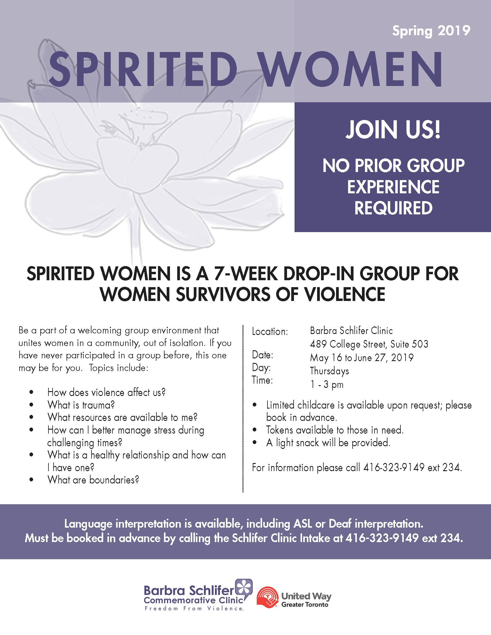 Registration is not needed to attend the Spirited Women group