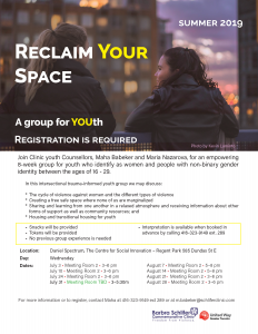 Reclaim Your Space a group for youth ages 16-29